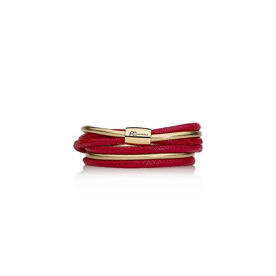 Bransoletka kolor czerwony złoty skóra 4 mm