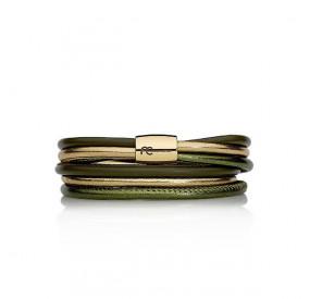 Bransoletka kolor zielony złoty skóra 4 mm