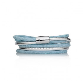 Bransoletka kolor błękitny srebrny skóra 4 mm