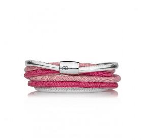 Bransoletka kolor różowy-jasny srebrny skóra 4 mm