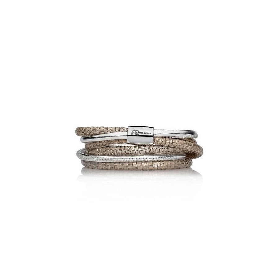 Bransoletka kolor beżowy srebrny skóra 4 mm