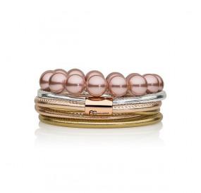 Zestaw bransoletek różowy srebrny złoty