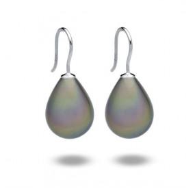 Kolczyki kolor beżowy-cappucino perła 13 x 18 mm