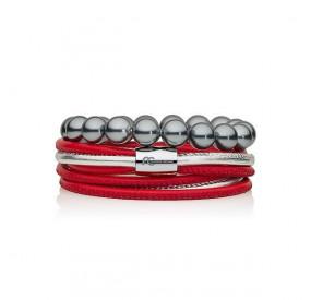 Zestaw bransoletek czerwony srebrny